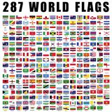 World flag flat icon collection with 287 all nations country flags. royalty free stock image
