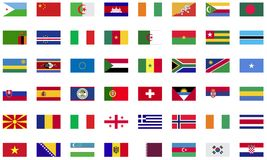 World flag icon collection. Flat icons Royalty Free Stock Image