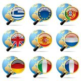World flag icons. Isolated raster version of vector zoom world flag icons with a globe Stock Images