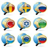 World flag icons. Isolated raster version of vector zoom world flag icons with a globe Royalty Free Stock Images