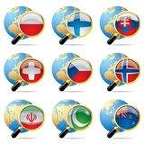 World flag icons. Isolated raster version of vector zoom world flag icons with a globe Royalty Free Stock Photos
