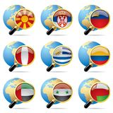 World flag icons. Isolated raster version of vector zoom world flag icons with a globe (contain the Clipping Path of all objects Royalty Free Stock Photography