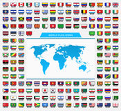 World and Flag Icons Royalty Free Stock Photography