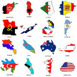 World flag map sketches collection 01. A collection of map shaped flags of the world in the style of doodle-like sketches Royalty Free Stock Photo