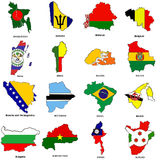 World flag map sketches collection 02. A collection of map shaped flags of the world in the style of doodle-like sketches Stock Photos
