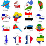 World flag map sketches collection 04. A collection of map shaped flags of the world in the style of doodle-like sketches Stock Image