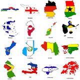 World flag map sketches collection 05. A collection of map shaped flags of the world in the style of doodle-like sketches Royalty Free Stock Photography