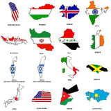 World flag map sketches collection 06. A collection of map shaped flags of the world in the style of doodle-like sketches Stock Images