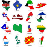 World flag map sketches collection 07. A collection of map shaped flags of the world in the style of doodle-like sketches Stock Photo