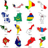 World flag map sketches collection 08. A collection of map shaped flags of the world in the style of doodle-like sketches Royalty Free Stock Photography