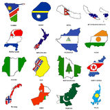 World flag map sketches collection 09. A collection of map shaped flags of the world in the style of doodle-like sketches Stock Image
