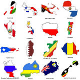 World flag map sketches collection 10. A collection of map shaped flags of the world in the style of doodle-like sketches Royalty Free Stock Image