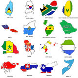 World flag map sketches collection 11. A collection of map shaped flags of the world in the style of doodle-like sketches Stock Photography