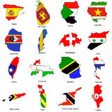 World flag map sketches collection 12. A collection of map shaped flags of the world in the style of doodle-like sketches Royalty Free Stock Photography