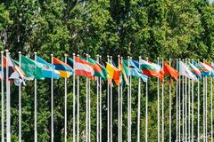 World Flag Poles. In Lisbon, Portugal Royalty Free Stock Photography
