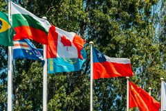 World Flag Poles. In Lisbon, Portugal Stock Photography