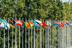 World Flag Poles. In Lisbon, Portugal Royalty Free Stock Photos
