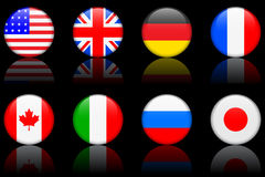 World flag series  World flag series G8 countries Royalty Free Stock Photos