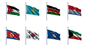 World Flag Set 12 Stock Photos