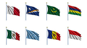 World Flag Set 15. Malta, Marshall Islands, Mauritania, Mauritius, Mexico, Federated States of Micronesia, Moldova, Monaco Royalty Free Stock Photo