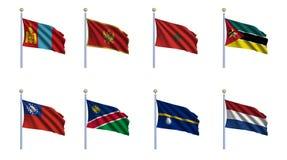 World Flag Set 16. Mongolia, Montenegro, Morocco, Mozambique, Myanmar, Namibia, Nauru and the Netherlands Stock Photos