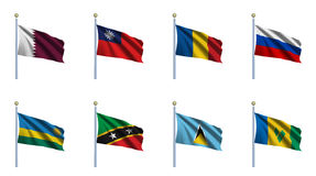 World Flag Set 19. Qatar, Republic of China, Romania, Russia, Rwanda, Saint Kitts and Nevis, Saint Lucia and Saint Vincent and the Grenadines Royalty Free Stock Photo