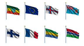 World Flag Set 8. World flag set 08 - Ethiopia, European Union, Faroe Islands, Fiji, Finland, France, Gabon and Gambia Royalty Free Stock Photo