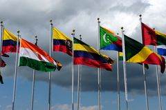 World Flags. In front of dramatic sky Royalty Free Stock Photos