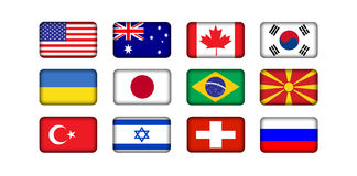 World flags. 12 countries international world flags Stock Photo