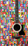 World flags on acoustic guitar Royalty Free Stock Photography