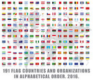 World flags all. 191 all world flag countries and organizations big set collection full list stock illustration