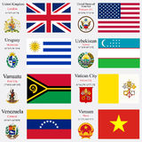 World Flags And Capitals Set 26 Stock Photos
