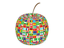 World flags on apple Royalty Free Stock Photos