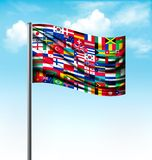 World flags on a big flag. Royalty Free Stock Photo