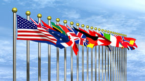 World Flags with Blue Sky Royalty Free Stock Photography