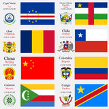 World flags and capitals set 5 Royalty Free Stock Image