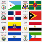 World flags and capitals set 7 Royalty Free Stock Images