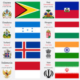 World flags and capitals set 10 Royalty Free Stock Photo