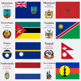 World flags and capitals set 16 Royalty Free Stock Photo