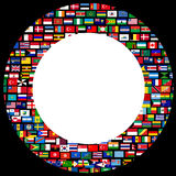 World flags circle frame over black background Royalty Free Stock Photo