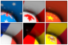 World Flags Collection. A collection of world flags for different countries: Australia, Canada, China, France, Germany and Spain. Other flags are also available Royalty Free Stock Photo