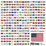 World Flags Collection - All Sovereign States Set in Vector Royalty Free Stock Photos
