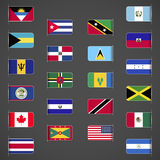World flags collection, North and Central America Royalty Free Stock Images