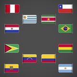 World flags collection, South America. Labeled in layers panel. Flags on the right hand side reflected around vertical axis Stock Photo