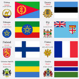 World flags and capitals set 8. World flags of Eritrea, Estonia, Ethiopia, Fiji, Finland, France, Gabonese Republic and Gambia, with capitals, geographic Royalty Free Stock Image