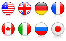 World Flags: G8 countries.  Stock Photo
