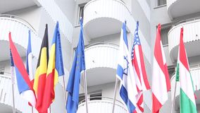 World flags. At the hotel entrance stock video footage