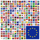 World Flags Icon Set Collection - All Sovereign States in Square Stock Photo