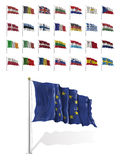 World Flags Icon Set Collection - European Union States Royalty Free Stock Image
