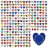 World Flags Icon Set Collection in Flat Heart Design - All States Stock Photos